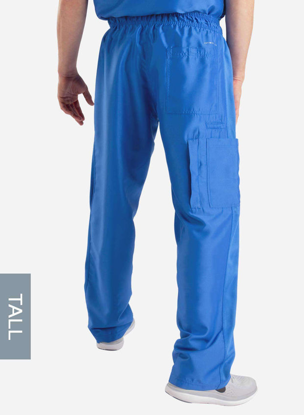 mens Elements tall relaxed fit scrub pants royal blue back