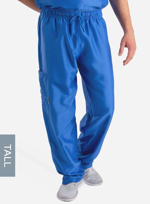 mens Elements tall relaxed fit scrub pants royal blue front