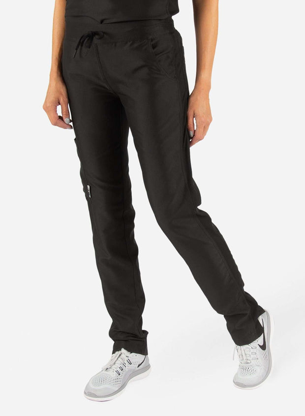 Women's Slim Fit Scrub Pants in Real black