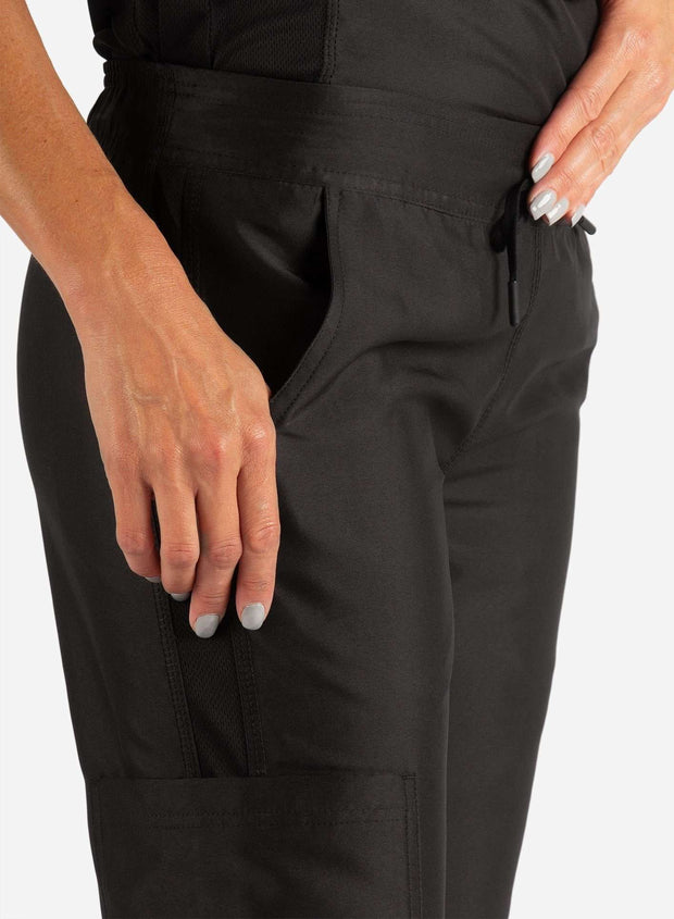 Women's Slim Fit Scrub Pants in Real Black Pocket View