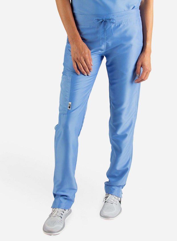 Women's Slim Fit Scrub Pants in ceil-blue