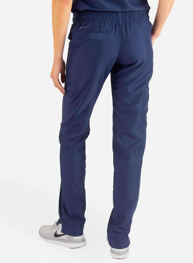 Women's Slim Fit Scrub Pants in navy-blue