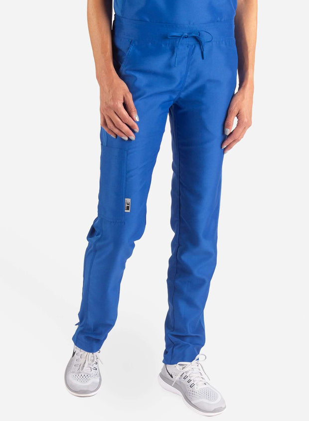 Women's Slim Fit Scrub Pants in royal-blue