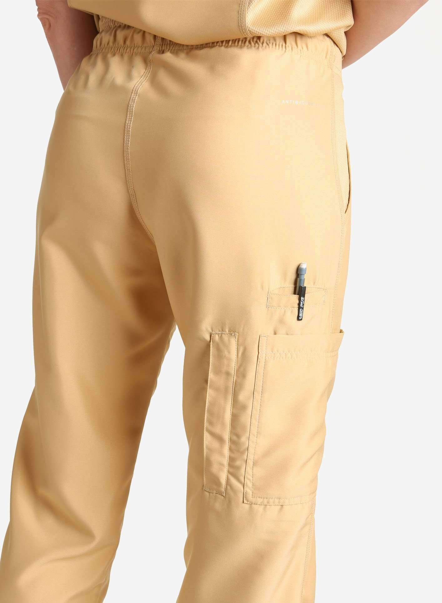 womens Elements cargo pocket straight leg scrub pants khaki