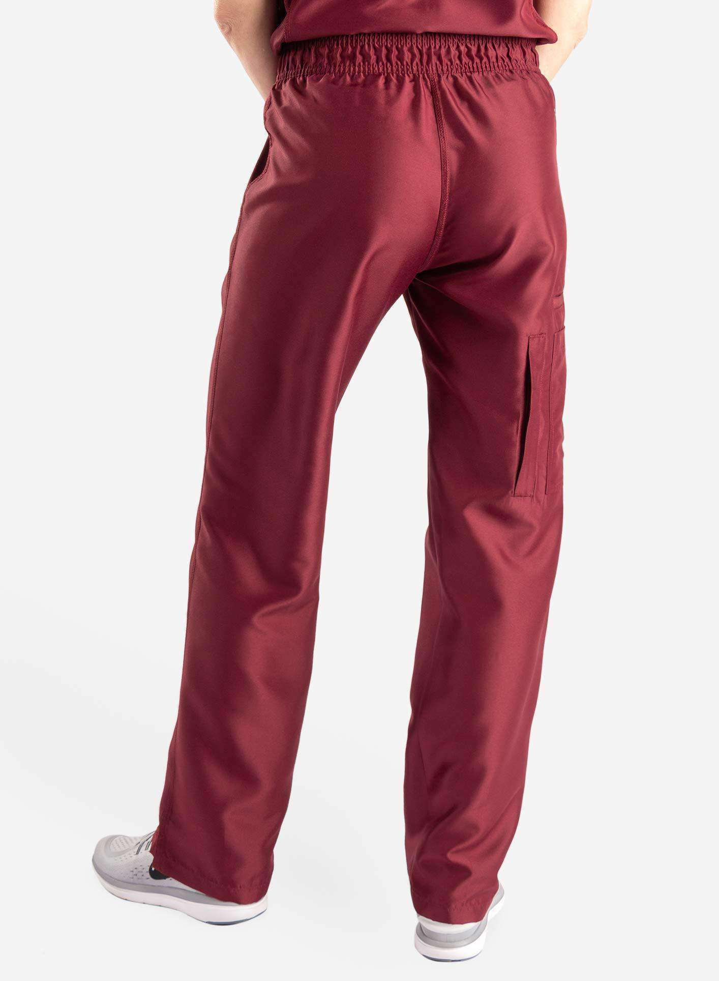 womens Elements cargo pocket straight leg scrub pants bold burgundy back
