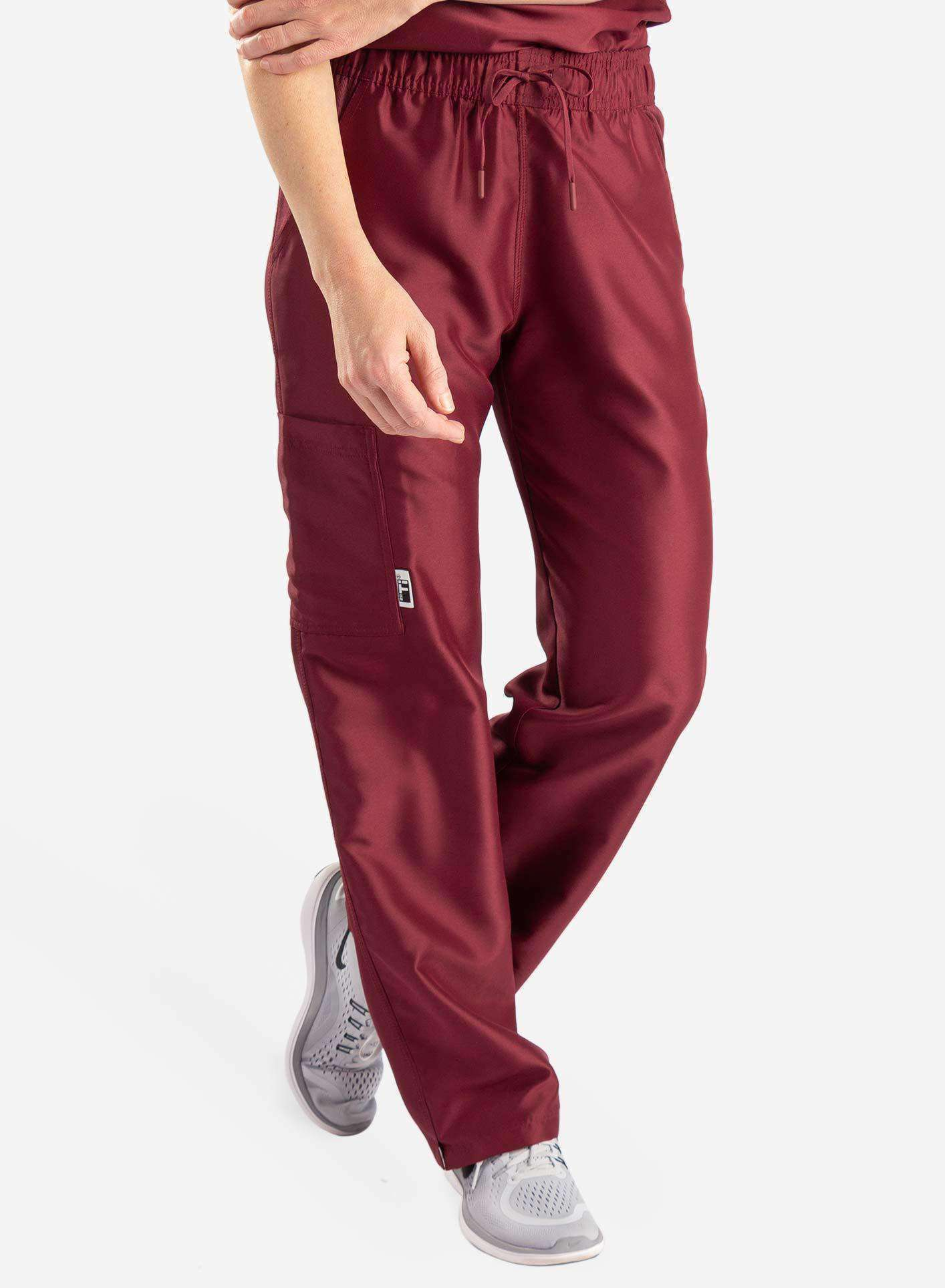 womens Elements cargo pocket straight leg scrub pants bold burgundy front