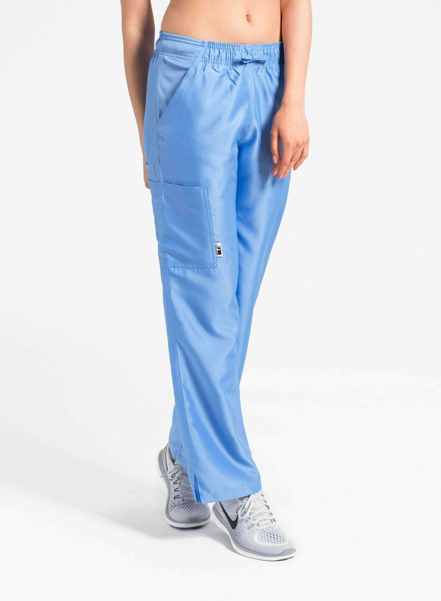 womens Elements cargo pocket straight leg scrub pants ceil blue