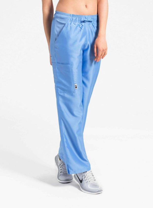 womens Elements cargo pocket straight leg scrub pants ceil-blue