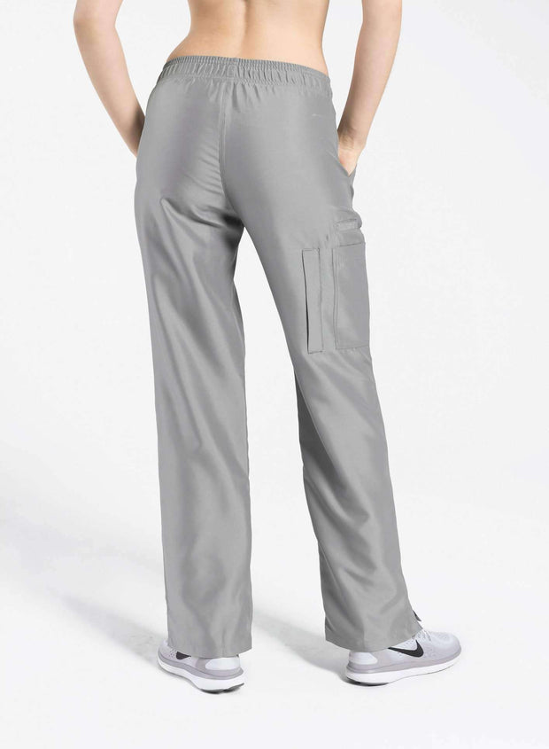 womens Elements cargo pocket straight leg scrub pants light grey