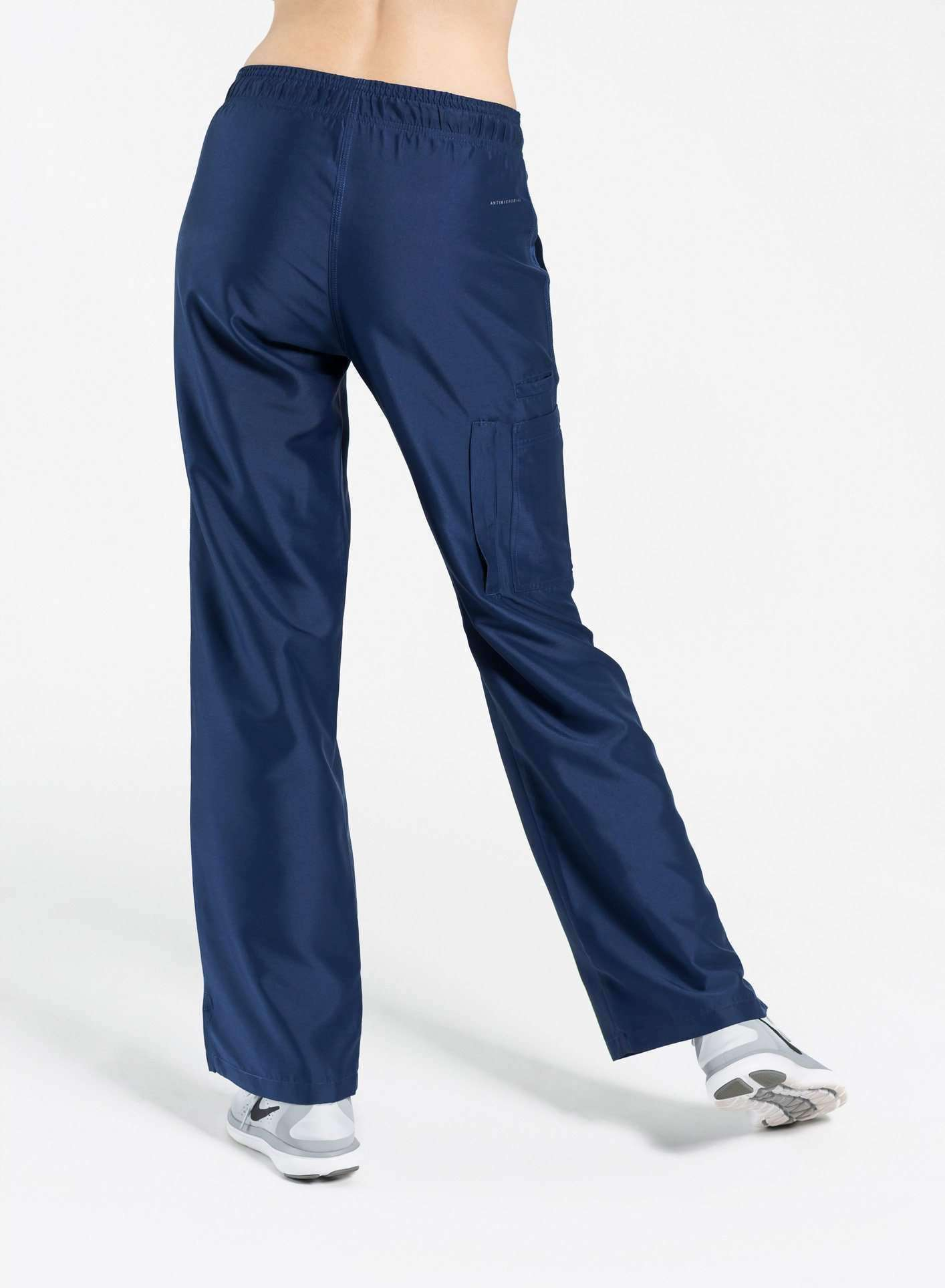 womens Elements cargo pocket straight leg scrub pants navy blue
