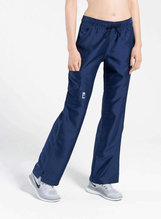 womens Elements cargo pocket straight leg scrub pants navy-blue