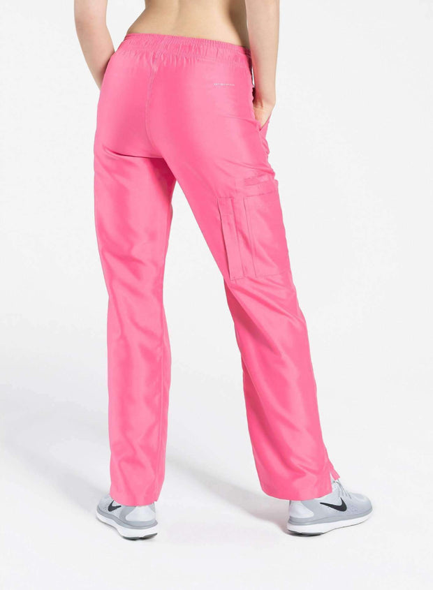 womens Elements cargo pocket straight leg scrub pants pink