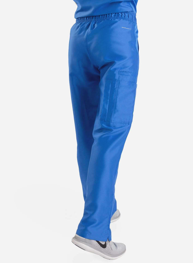 womens Elements cargo pocket straight leg scrub pants royal-blue