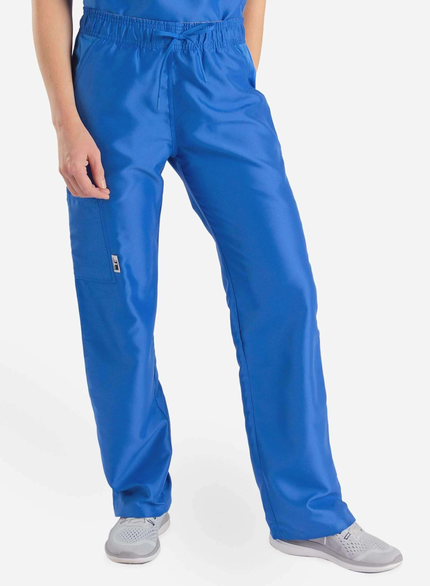 womens Elements cargo pocket straight leg scrub pants royal blue front
