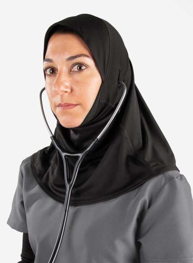 Medical hijab with stethoscope holes for doctors in black