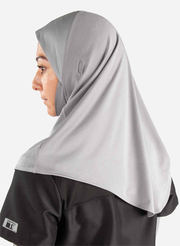 Athletic medical hijab in light gray