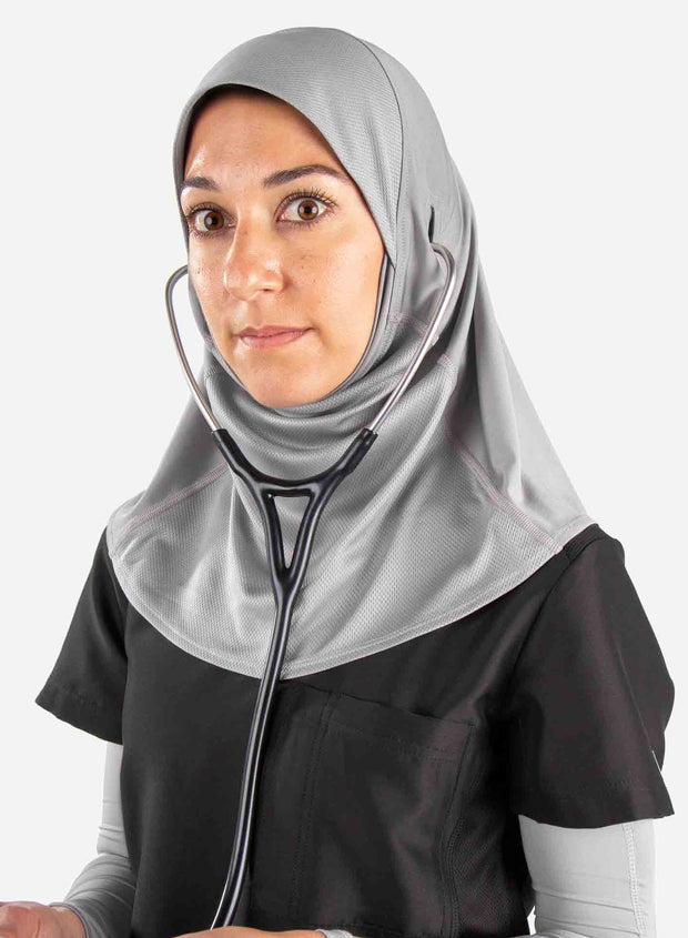 Medical hijab in light gray