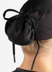 womens black scrub cap with hair hidden