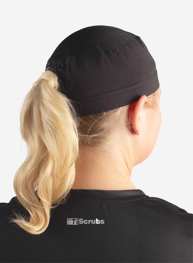 Womens ponytail scrub cap in black back view