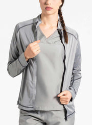 womens Elements scrub jacket light gray