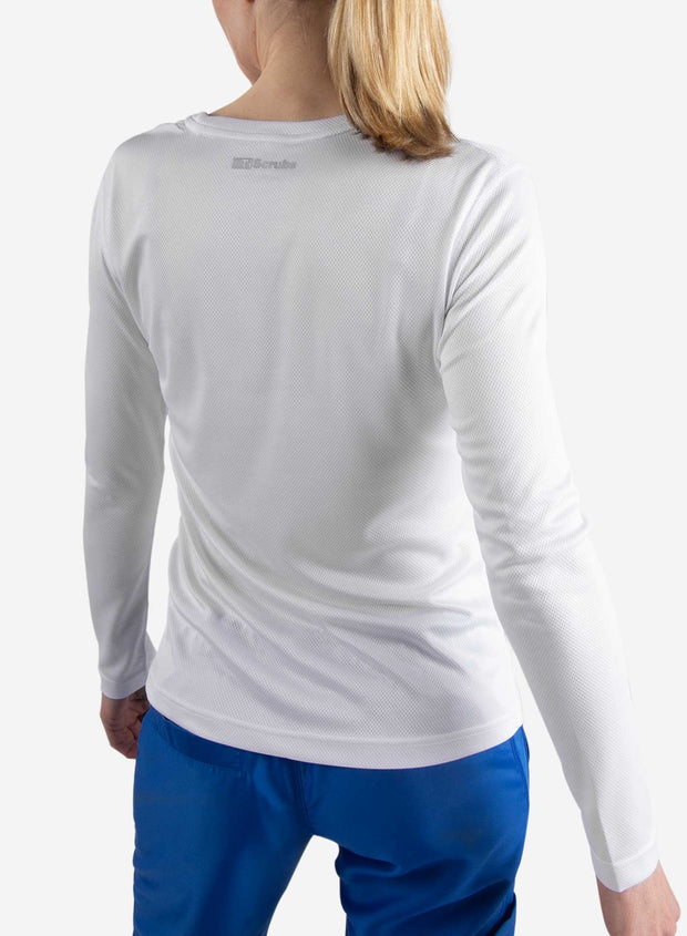 Women's long sleeve underscrub in white back view