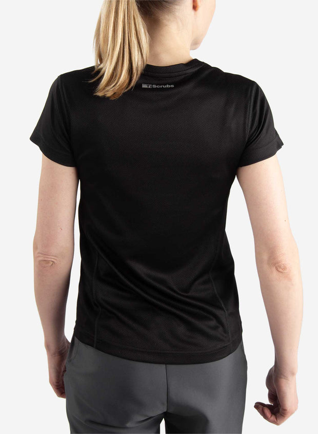 Women's short sleeve underscrub in black