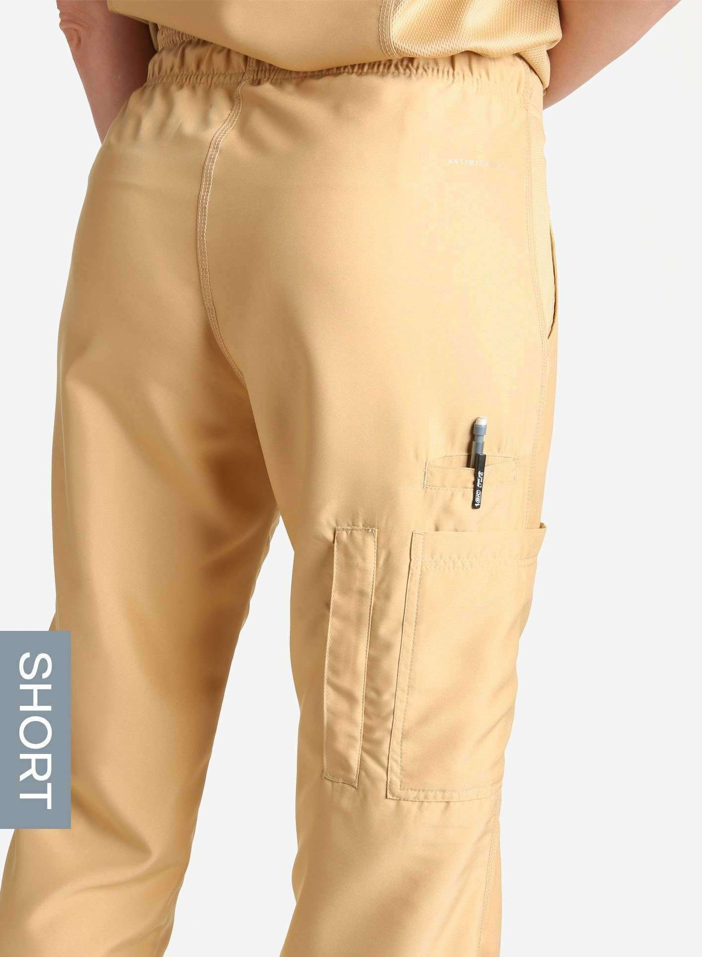 womens short cargo pocket straight leg scrub pants khaki Elements pocket detail