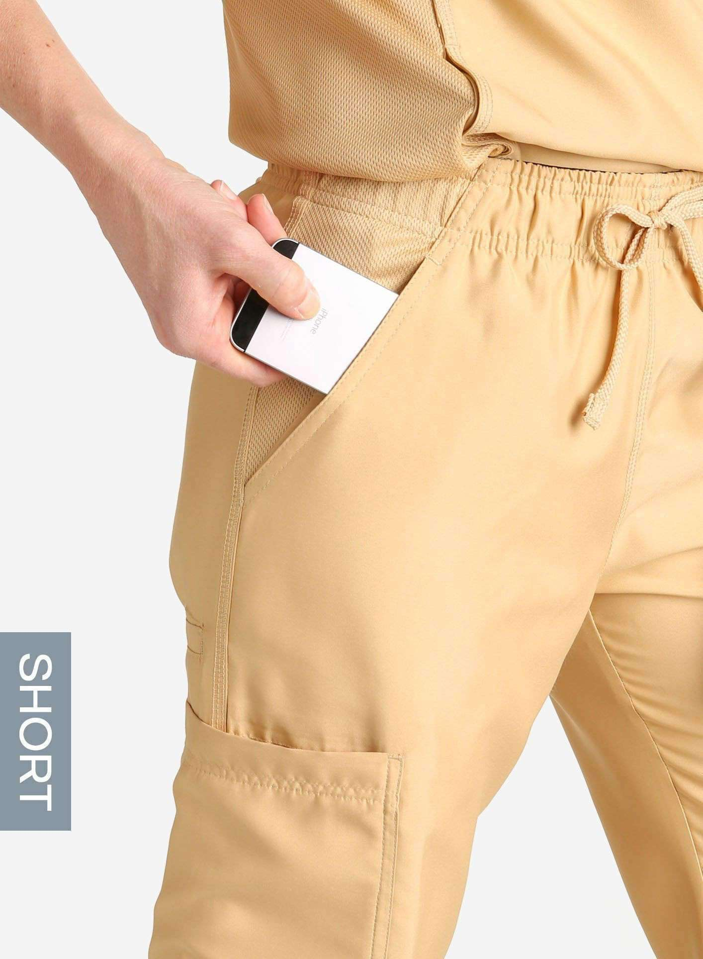 womens short cargo pocket straight leg scrub pants khaki Elements detail