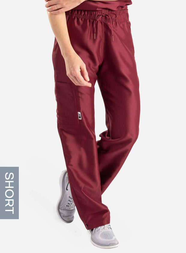womens short cargo pocket straight leg scrub pants burgundy