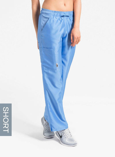 womens short cargo pocket straight leg scrub pants ceil-blue