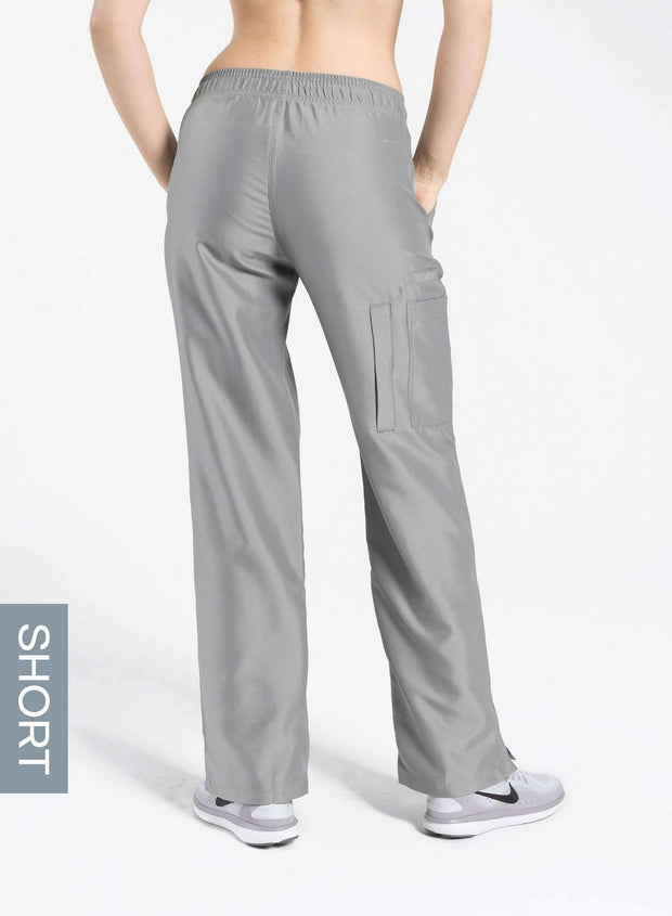 womens short cargo pocket straight leg scrub pants light gray Elements back