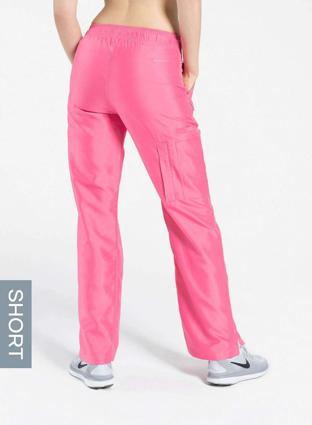 womens short cargo pocket straight leg scrub pants pink Elements back