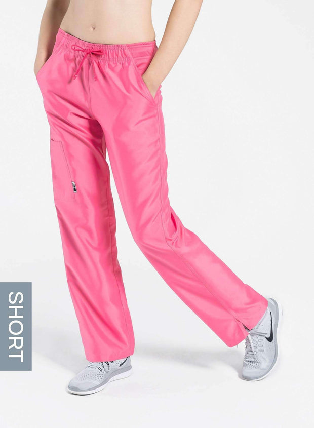 womens short cargo pocket straight leg scrub pants pink Elements front