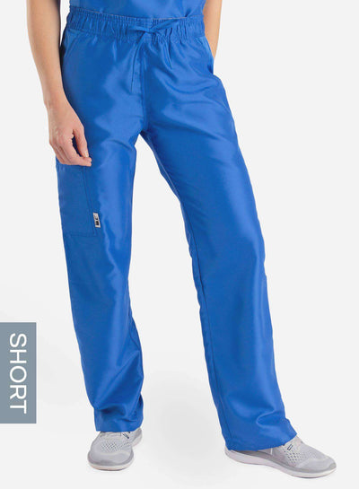 womens short cargo pocket straight leg scrub pants royal-blue