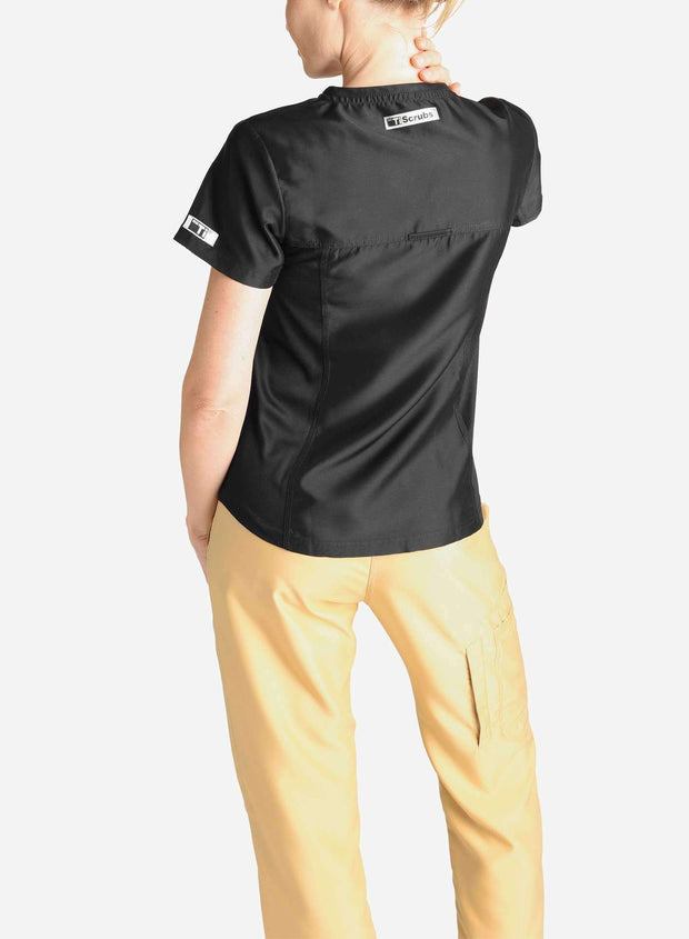 womens short sleeve black scrub top and khaki pants back