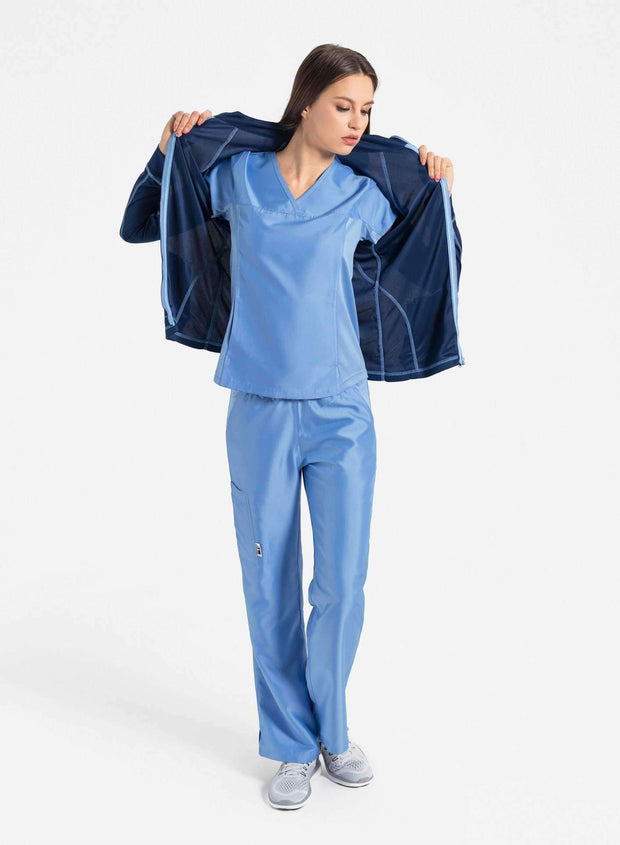 womens Elements hidden pocket scrub top and jacket ceil blue