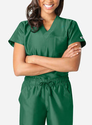 womens simple short sleeve chest pocket scrub top dark green