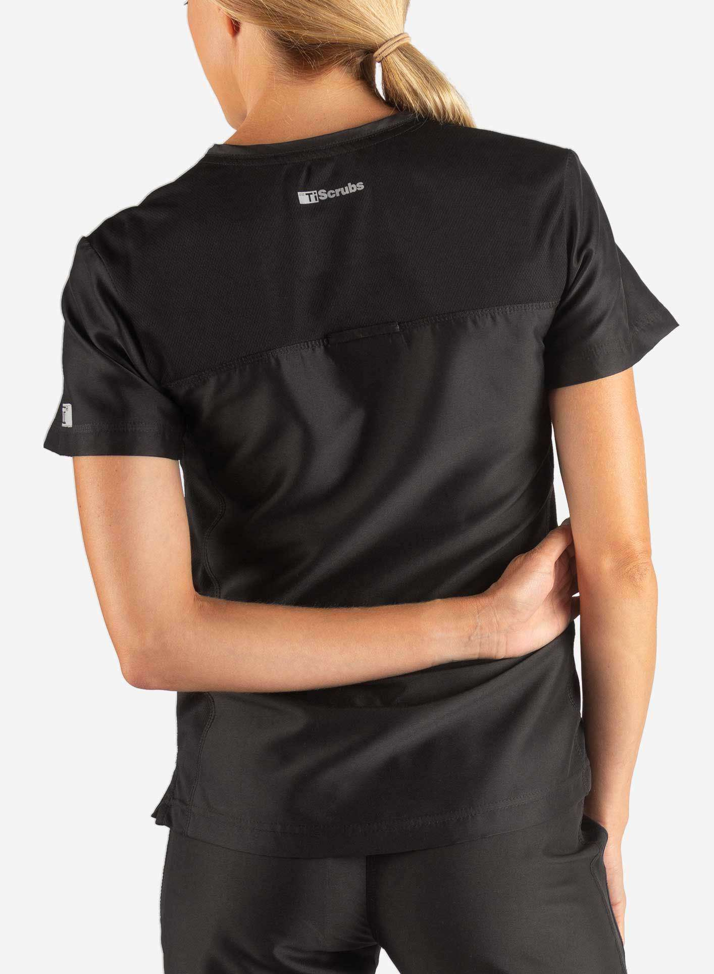 Women's Fitted Scrub Top in Black Back