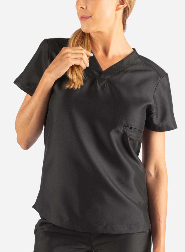 Women's Fitted Scrub Top in Black Front
