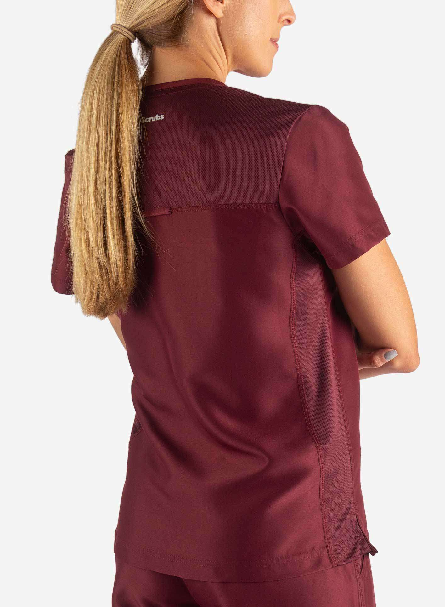 Women's Fitted Scrub Top in Bold Burgundy Back