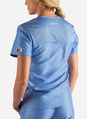 Women's Fitted Scrub Top in ceil-blue