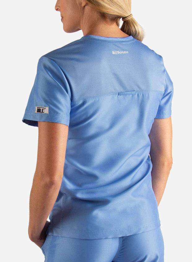 Women's Fitted Scrub Top in Ceil Blue Back