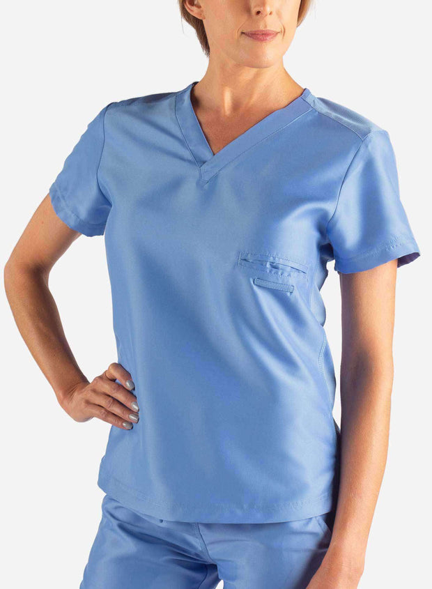 Women's Fitted Scrub Top in Ceil Blue Front