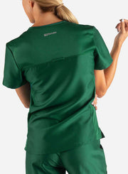 Women's Fitted Scrub Top in Dark Green Back