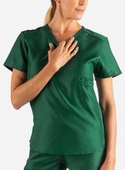 Women's Fitted Scrub Top in Dark Green Front