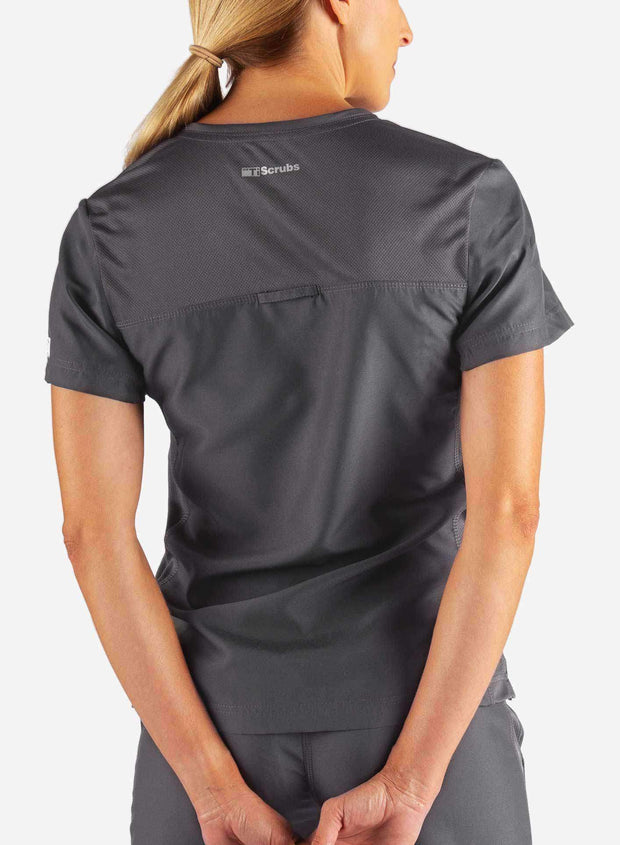 Women's Fitted Scrub Top in Dark Grey Back