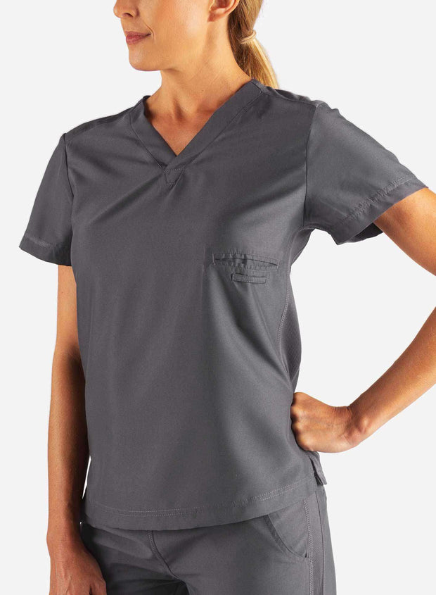 Women's Fitted Scrub Top in Dark Grey Front
