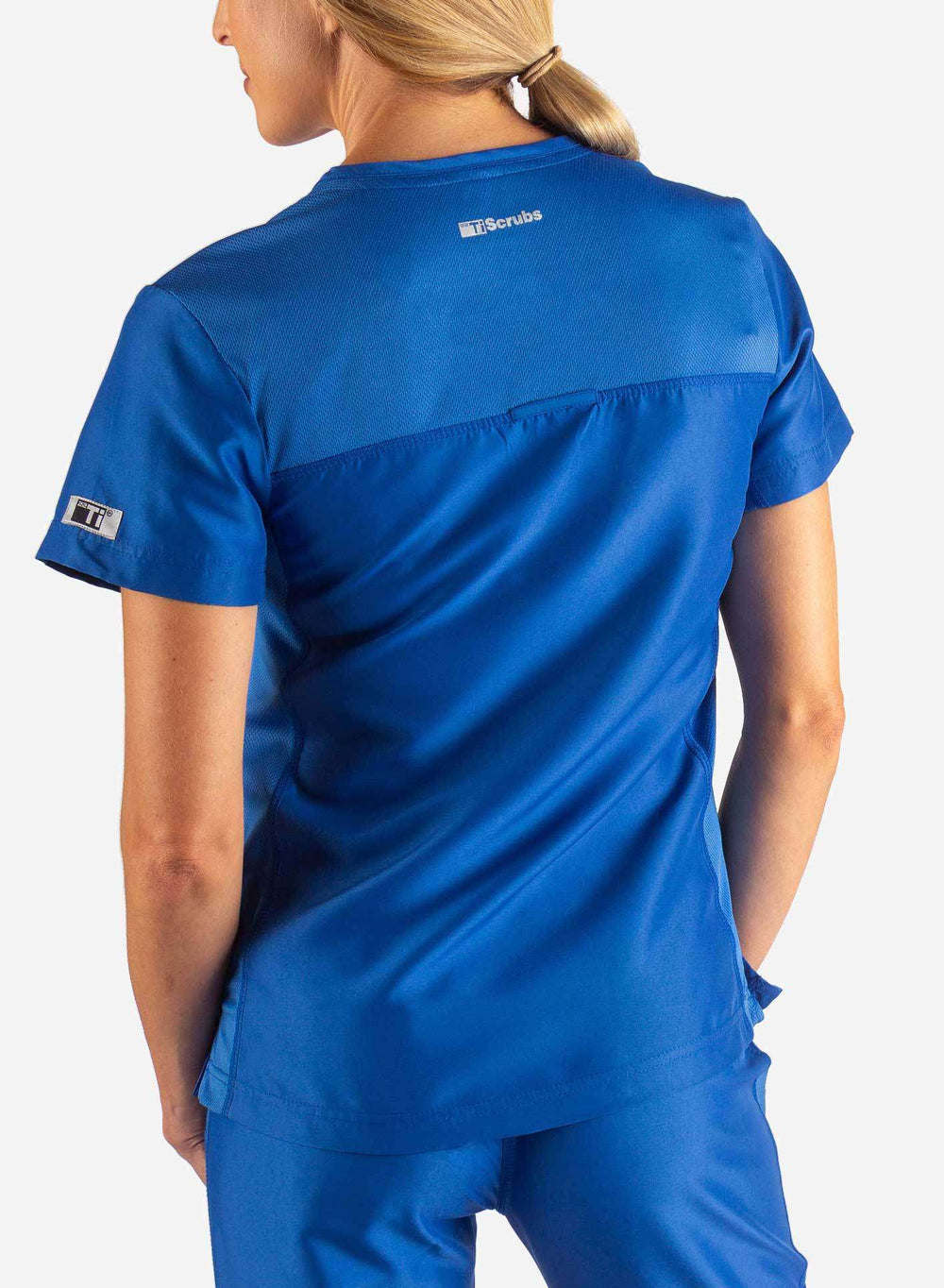 Women's Fitted Scrub Top in Royal Blue Back