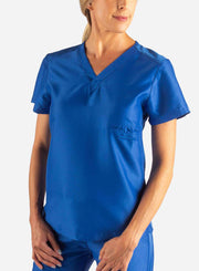 Women's Fitted Scrub Top in Royal Blue Front