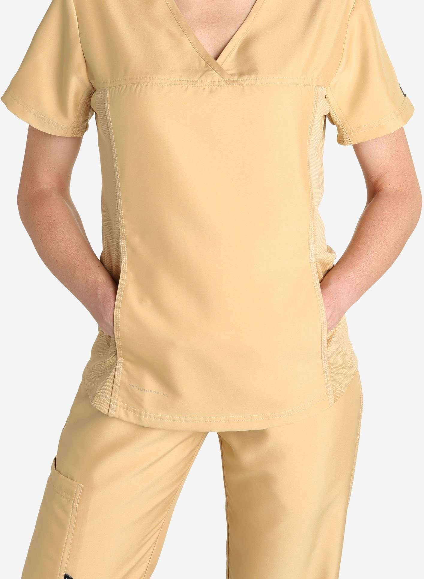 Womens khaki short sleeve scrub top pocket detail